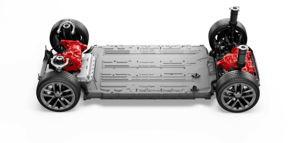 Tesla Model S Plaid Frame and Chassis with Tri-Motors, Battery Pack and Wheels