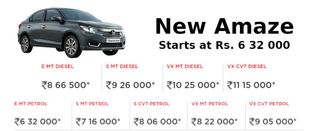 New Honda Amaze 2021: Engine, performance, specifications to price.